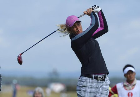 Norway's Suzann Pettersen tees off at the 17th hole during the Women's British Open golf championship at St Andrews in Scotland August 2, 20