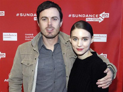 "Cast members Casey Affleck and Rooney Mara pose at the premiere of ""Ain't Them Bodies Saints"" during the Sundance Film Festival in Park City"