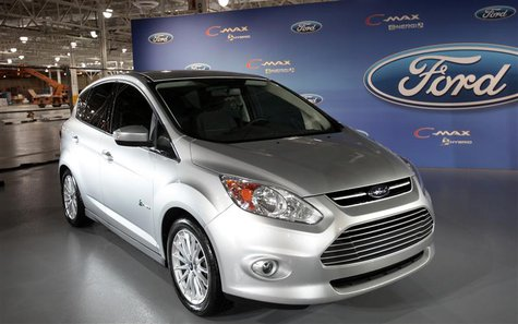 The Ford Motor Co. C-MAX Hybrid concept vehicle is displayed at the Ford Van Dyke transmission assembly plant in Sterling Heights, Michigan