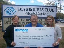 Wisconsin Rapids Boys and Girls Club officials receive ceremonial check after fundraiser concert held at Witter Field.