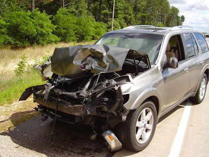 SUV that rear-ended a log truck 8/13/13.  Photo: Portage County Sheriff's Department