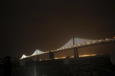 A lighted art display is shown on the San Francisco-Oakland Bay Bridge in San Francisco, California March 5, 2013. REUTERS/Robert Galbraith