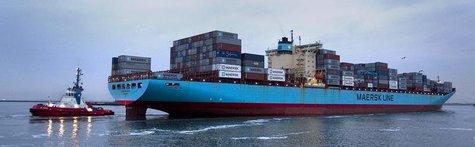 The Carsten Maersk, the first container ship to sail from Japan to Rotterdam since the nuclear disaster at Fukushima, enters Europe's larges