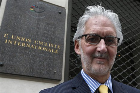 British Cycling President Brian Cookson poses June 24, 2013 in front of the building where the International Cycling Union (UCI) was founded