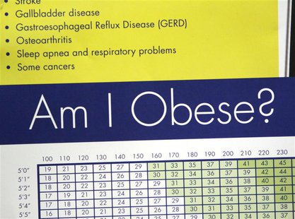 A sign hanging in bariatric surgeon Dr. Michael Snyder's office shows some of the risks of obesity including stroke, sleep apnea and cancer