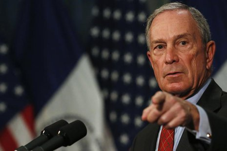"New York City Mayor Michael Bloomberg gestures while speaking to the media about a judge's ruling on ""stop and frisk"" at City Hall in New Yo"