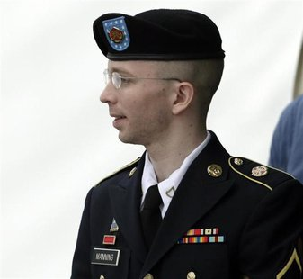 U.S. Army Private First Class Bradley Manning departs the courthouse at Fort Meade, Maryland July 30, 2013. REUTERS/Gary Cameron