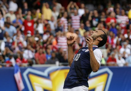 Landon Donovan of the U.S. yells after missing a scoring attempt against Panama during the second half of the CONCACAF Gold Cup soccer final