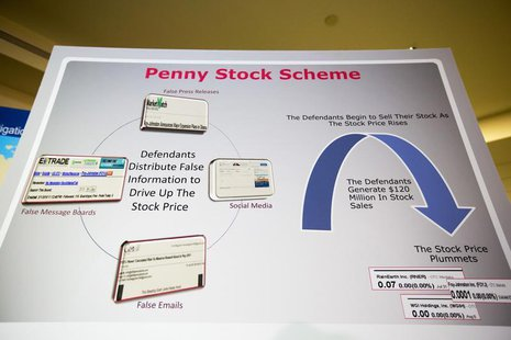 A board showing how a penny stock fraud scheme was run is seen before the announcement of the indictment of nine individuals for involvement