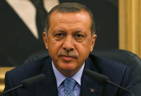 Turkey's Prime Minister Tayyip Erdogan addresses the media before he leaves for Turkmenistan at Esenboga Airport in Ankara August 15, 2013.