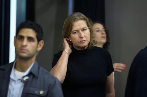 Israel's Justice Minister Tzipi Livni, the Israeli cabinet minister responsible for efforts to restart Palestinian talks, arrives to a speci