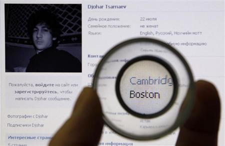 A photograph of Djohar Tsarnaev, who is believed to be Dzhokhar Tsarnaev, a suspect in the Boston Marathon bombing, is seen on his page of Russian social networking site Vkontakte (VK), as pictured on a monitor in St. Petersburg April 19, 2013. Credit: Reuters/Alexander Demianchuk