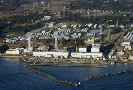 An aerial view shows Tokyo Electric Power Co.'s (TEPCO) tsunami-crippled Fukushima Daiichi nuclear power plant in Fukushima Prefecture in th