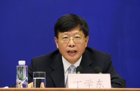 Ding Xuedong, former China's vice finance minister, speaks during a news conference in Beijing, August 7, 2009. REUTERS/Stringer