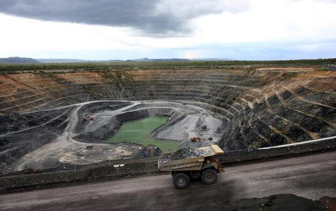A haul truck is seen carrying uranium ore out of Energy Resource Australia's Ranger uranium mine in Australia's Northern Territory in this h