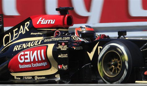 Lotus F1 Formula One driver Kimi Raikkonen of Finland drives during the Hungarian F1 Grand Prix at the Hungaroring circuit in Mogyorod, near