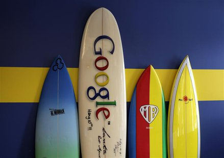 Surfboards lean against a wall at the Google office in Santa Monica, California, October 11, 2010. Google will report its third-quarter earn