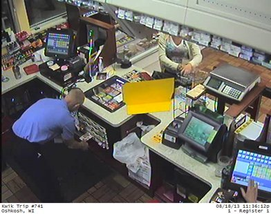 Suspect in donation jar theft seen at Kwik Trip store in Oshkosh on Sunday Aug. 18, 2013. (Photo by: Oshkosh Police Dept.)