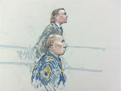 Courtroom sketch shows Army Staff Sergeant Robert Bales and attorney John Henry Browne (rear) who asks potential jurors questions during a p