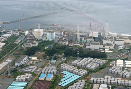 An aerial view shows Tokyo Electric Power Co. (TEPCO)'s tsunami-crippled Fukushima Daiichi nuclear power plant and its contaminated water st