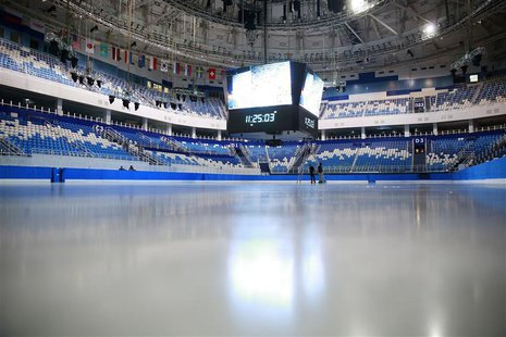 An interior view shows the Iceberg Skating Palace for the 2014 Winter Olympic Games in Sochi, August 20, 2013. REUTERS/Pawel Kopczynski