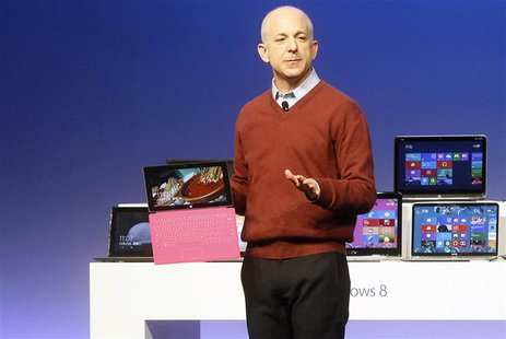 Windows' and Windows Live Division President, Steven Sinofsky, holds a Surface tablet computer as he introduces the new Windows 8 operating