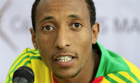 Mohammed Aman of Ethiopia, gold medallist in the men's 800 meters at the IAAF World Athletics Championships, speaks at a news conference in