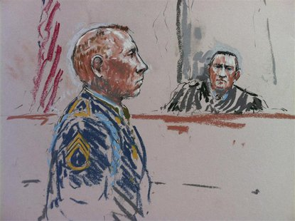 Army Staff Sergeant Robert Bales and the judge, Army Colonel Jeffery Nance (R) are shown in this courtroom sketch during a pre-sentencing he