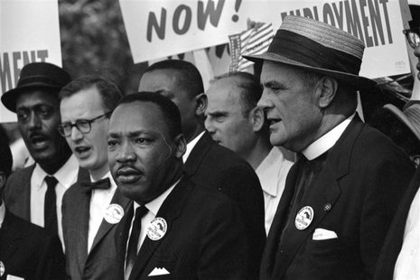 Rev. Martin Luther King Jr. (C) leads other civil rights leaders and marchers during the March on Washington for Jobs and Freedom in this Au