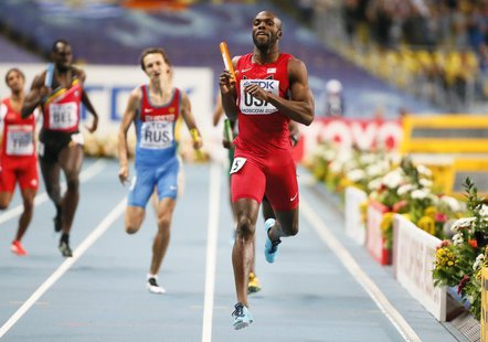 LaShawn Merritt of the U.S. races to win during the men's 4x400 metres relay final of the IAAF World Athletics Championships at the Luzhniki