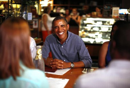 U.S. President Barack Obama meets with college students, their parents and educators as they discuss the cost of education at Magnolia's Del