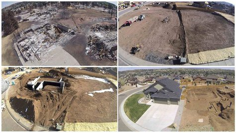 A combination of photos show (clockwise from top L) the remains of a burned-out house, a view of the old foundation which has been removed a