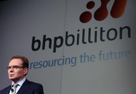 BHP Billiton Chief Executive Andrew Mackenzie prepares to discuss the company's annual results at a meeting in Sydney August 20, 2013. REUTE