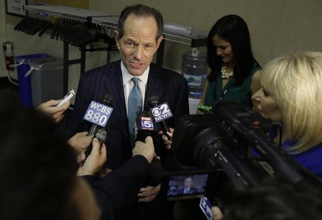 Former New York Governor Eliot Spitzer responds to questions during a news interview after a primary debate for New York City comptroller in