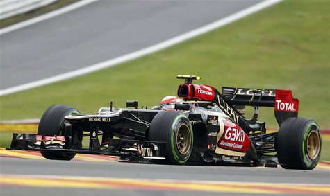 Lotus Formula One driver Romain Grosjean of France drives during the first practice session of the Belgian F1 Grand Prix at the Circuit of S