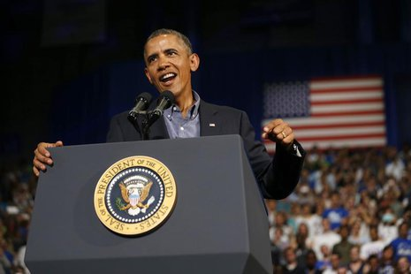U.S. President Barack Obama delivers remarks at the University of Buffalo, New York, August 22, 2013. REUTERS/Jason Reed
