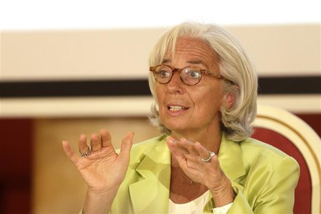 "International Monetary Fund (IMF) managing director Christine Lagarde gestures as she speaks during the debate ""European Economic Integratio"