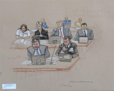 In this photo of a sketch by courtroom artist Janet Hamlin and reviewed by the U.S. Department of Defense, the prosecution, including Army B