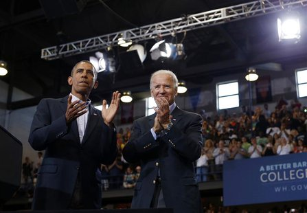 U.S. President Barack Obama (L) and Vice President Joe Biden appear at an event in Biden's home town of Scranton, Pennsylvania, August 23, 2