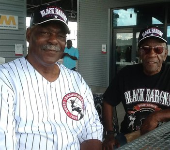Former Negro League Baseball players Robert Vickers (L), a former catcher and pitcher (1956-1974) and Charlie Harris, a former outfielder (1