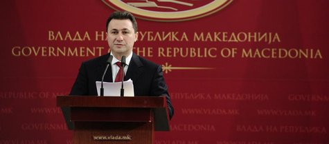 Macedonian Prime Minister Nikola Gruevski addresses the media after the International Court of Justice announced their verdict in Skopje Dec