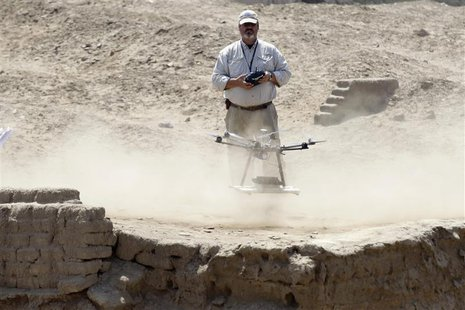 Luis Jaime Castillo, a Peruvian archaeologist with Lima's Catholic University and an incoming deputy culture minister, flies a drone to take