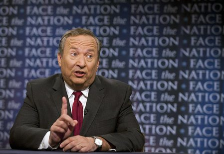 "Lawrence Summers, director of the National Economic Council makes a point on ""Face The Nation"" in Washington, April 25, 2010. REUTERS/Chris"