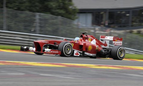 Ferrari Formula One driver Fernando Alonso of Spain drives during the Belgian F1 Grand Prix at the Circuit of Spa-Francorchamps August 25, 2
