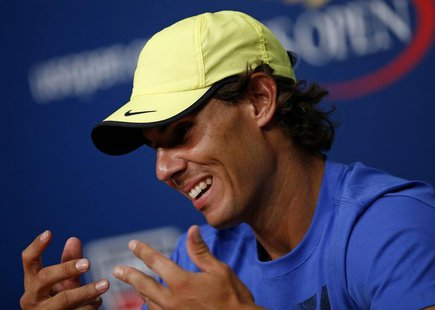 Tennis player Rafael Nadal of Spain speaks during a news conference after Arthur Ashe Kids' Day at the USTA Billie Jean King National Tennis