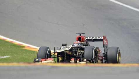 Lotus Formula One driver Kimi Raikkonen of Finland drives during the Belgian F1 Grand Prix at the Circuit of Spa-Francorchamps August 25, 20