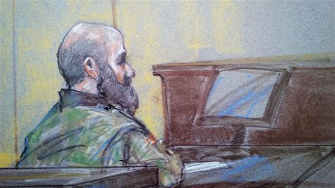 U.S. Army psychiatrist Major Nidal Hasan is pictured in court in Fort Hood, Texas in this August 23, 2013 court sketch. REUTERS/ Brigitte Wo