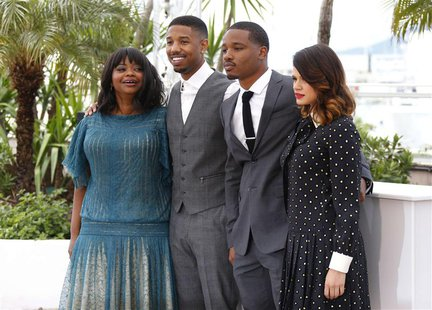 Director Ryan Coogler (2ndR) and cast members Michael B. Jordan (2ndL), Octavia Spencer, (L) and Melonie Diaz pose during a photocall for th