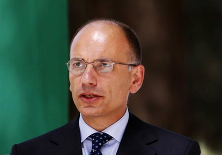 Italy's Prime Minister Enrico Letta speaks during a joint news conference with Afghanistan's President Hamid Karzai (not pictured) in Kabul