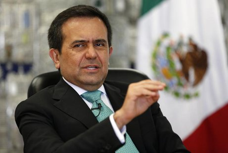 Mexican Economy Minister Ildefonso Guajardo gestures as he speaks during an interview with Reuters at his office in Mexico City August 16, 2